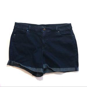 Lane Bryant dark wash cuffed jean shorts